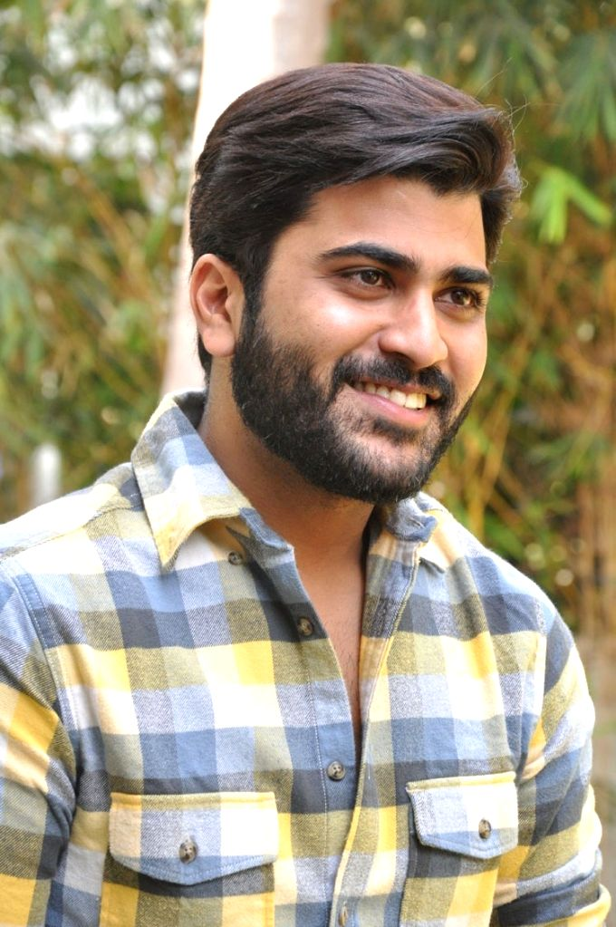 Actor Sharwanand during the paess meet.