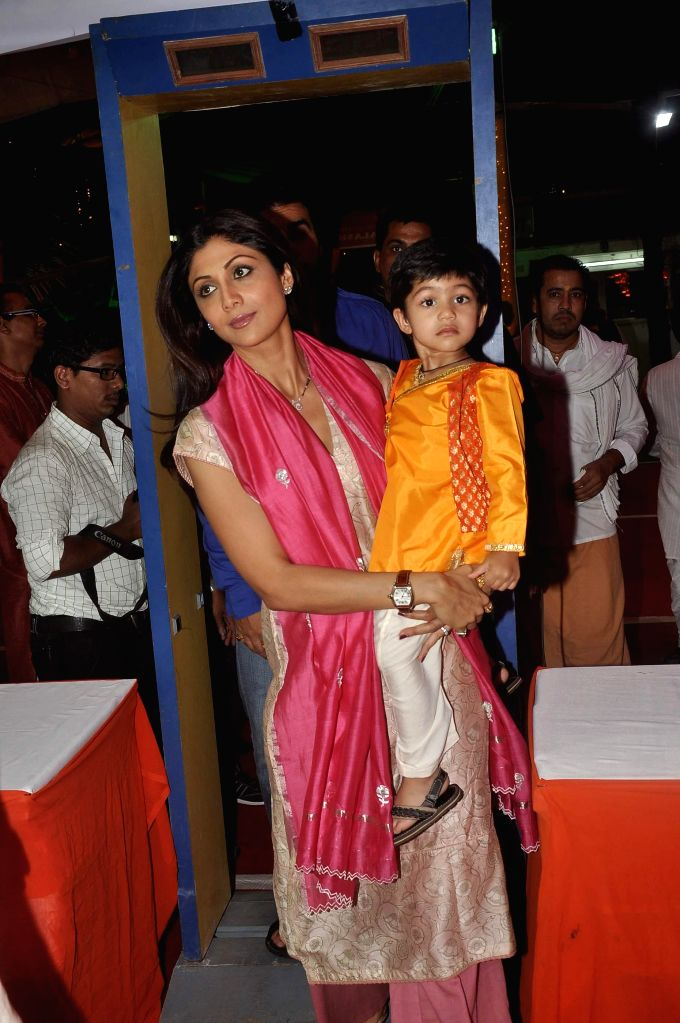 Actor Shilpa Shetty along with her son Viaan at ISKCON temple to seek the blessing of Lord Krishna on the occasion of Janamashtmi, in Mumbai, on Aug. 17, 2014.