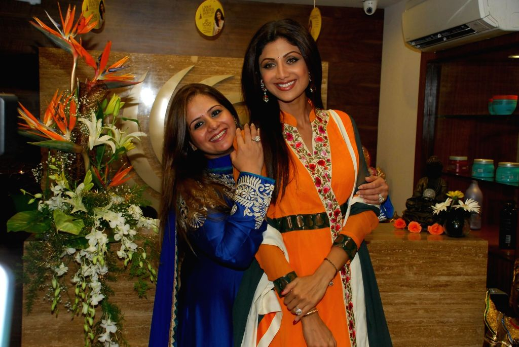 Actor Shilpa Shetty with business partner and cosmetologist Kiran Bawa during the launch their 11th IOSIS Wellness centre in Mumbai, on Sept. 5, 2014.