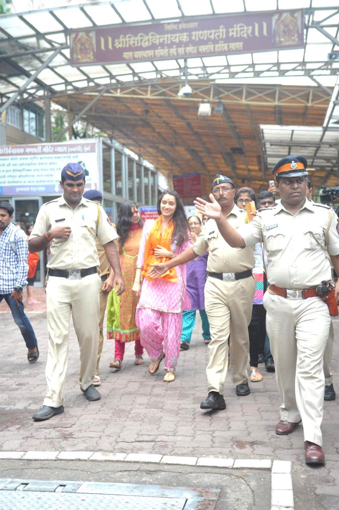 Actor Shraddha Kapoor arrives at Siddhivinayak temple after her success of Ek Villain in Mumbai on July 10, 2014.