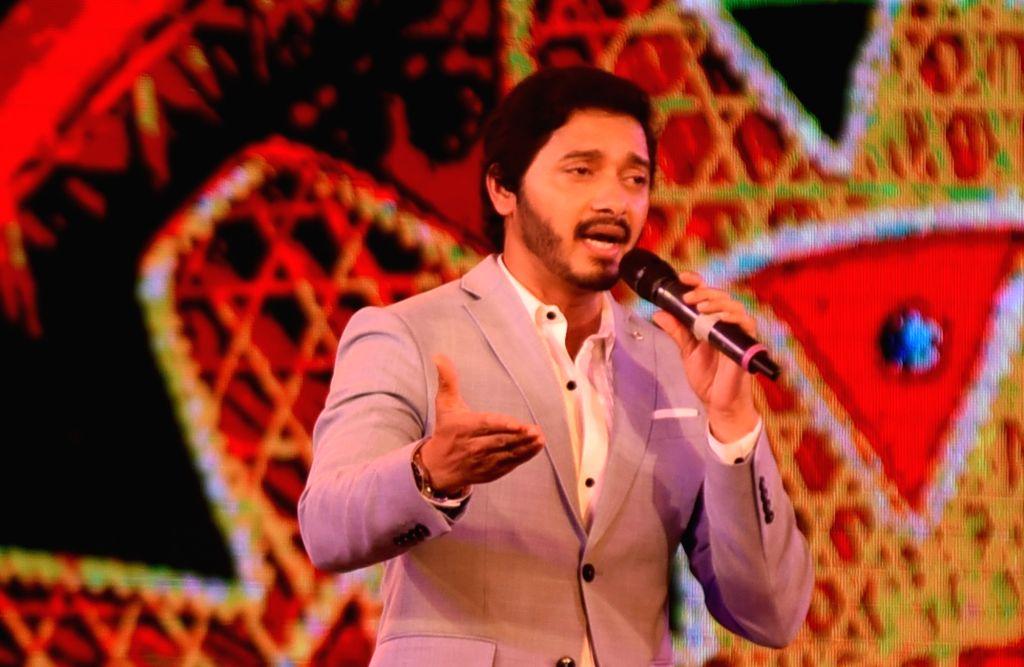 Actor Shreyas Talpade addresses during the Prag Cine Awards North-East 2019, in Assam's Nagaon, on June 2, 2019. - Shreyas Talpade