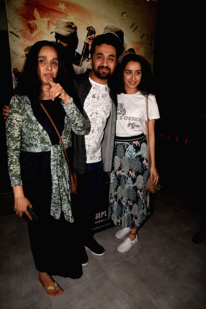"Actor Siddhanth Kapoor along with his mother Shivangi Kolhapure and sister Shraddha Kapoor at the special screening of film ""Paltan"" in Mumbai on Sept 6, 2018. - Siddhanth Kapoor and Shraddha Kapoor"