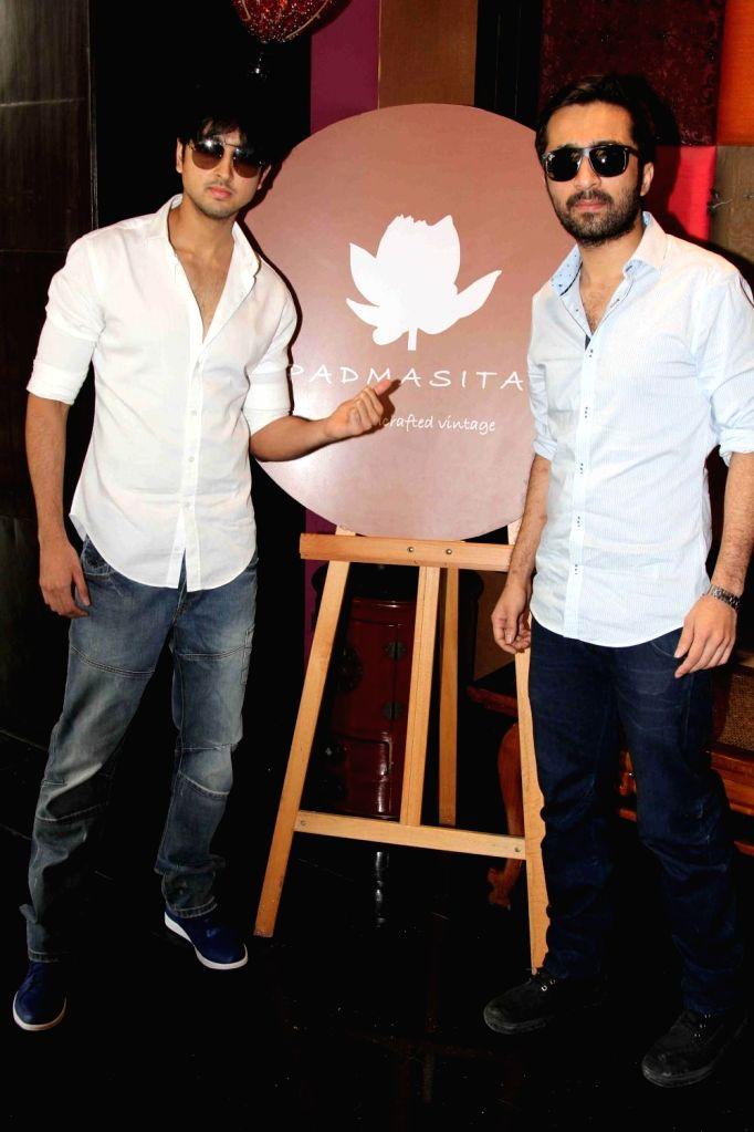 Actor Siddhanth Kapoor and Padmini Kolhapure`s son Priyank Sharma (L) during the showcase of Padmasitaa Vivaha exhibition in Mumbai, on November 20, 2015. - Siddhanth Kapoor and Priyank Sharma