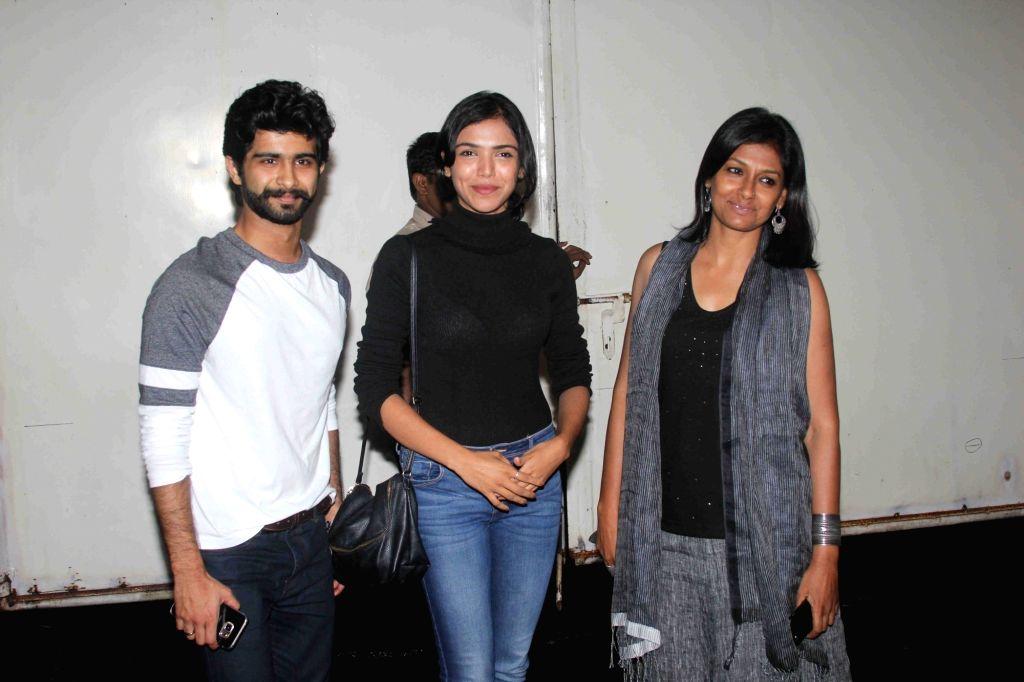 Actor Siddharth Menon, Shriya Pilgaonkar and Nandita Das during the screening of film Queen of Katwe in Mumbai on Oct 5, 2016. - Siddharth Menon and Nandita Das