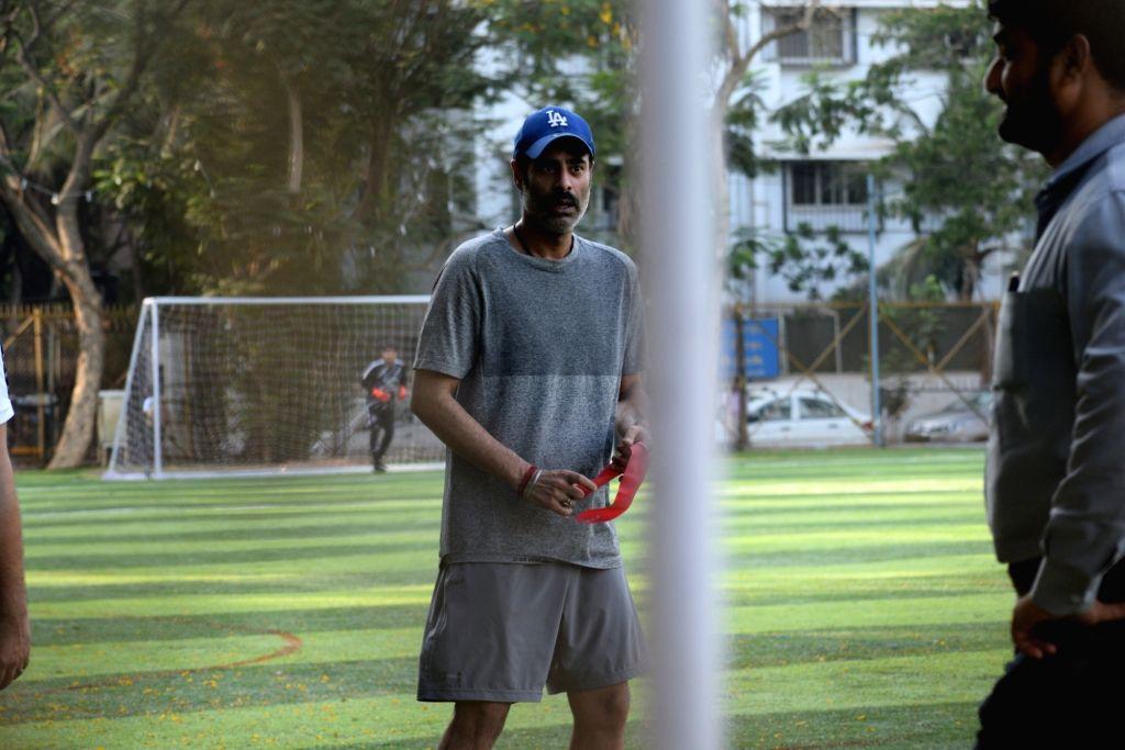 Actor Sikandar Kher during a football match at Juhu in Mumbai, on May 26, 2019. - Sikandar Kher