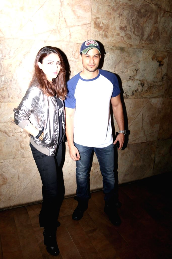 Actor Soha Ali Khan with his husband Kunal Khemu during the screening of film 31st October, in Mumbai, on Oct 19, 2016. - Soha Ali Khan