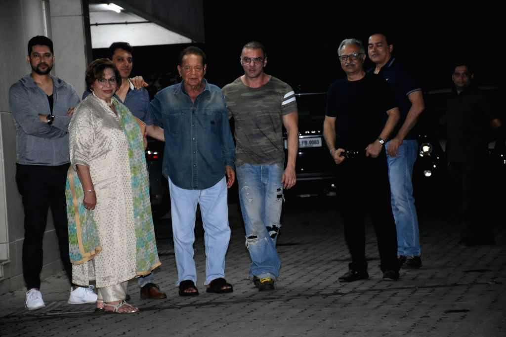 Actor Sohail Khan with his father Salim Khan and step-mother Helen seen outside his house, in Mumbai, on June 16, 2019. - Sohail Khan