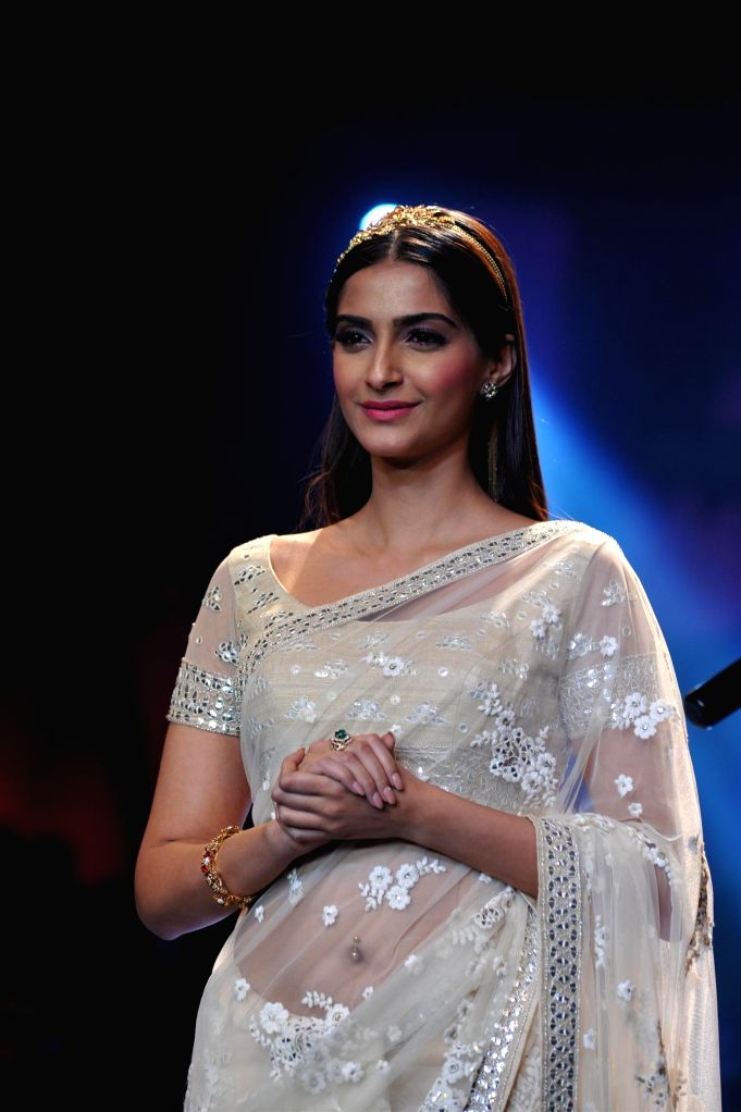 Actor Sonam Kapoor during the grand finale of India International Jewellery Week (IIJW) in Mumbai on July 17, 2014.
