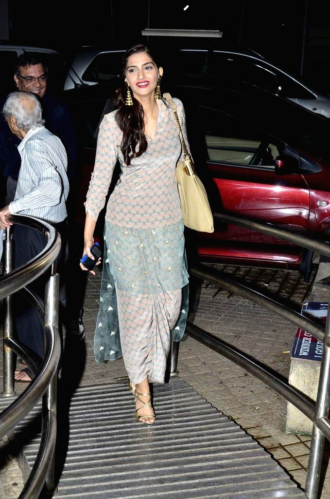 Actor Sonam Kapoor during the special screening of film Finding Fanny in Mumbai on Sept 7, 2014. - Sonam Kapoor