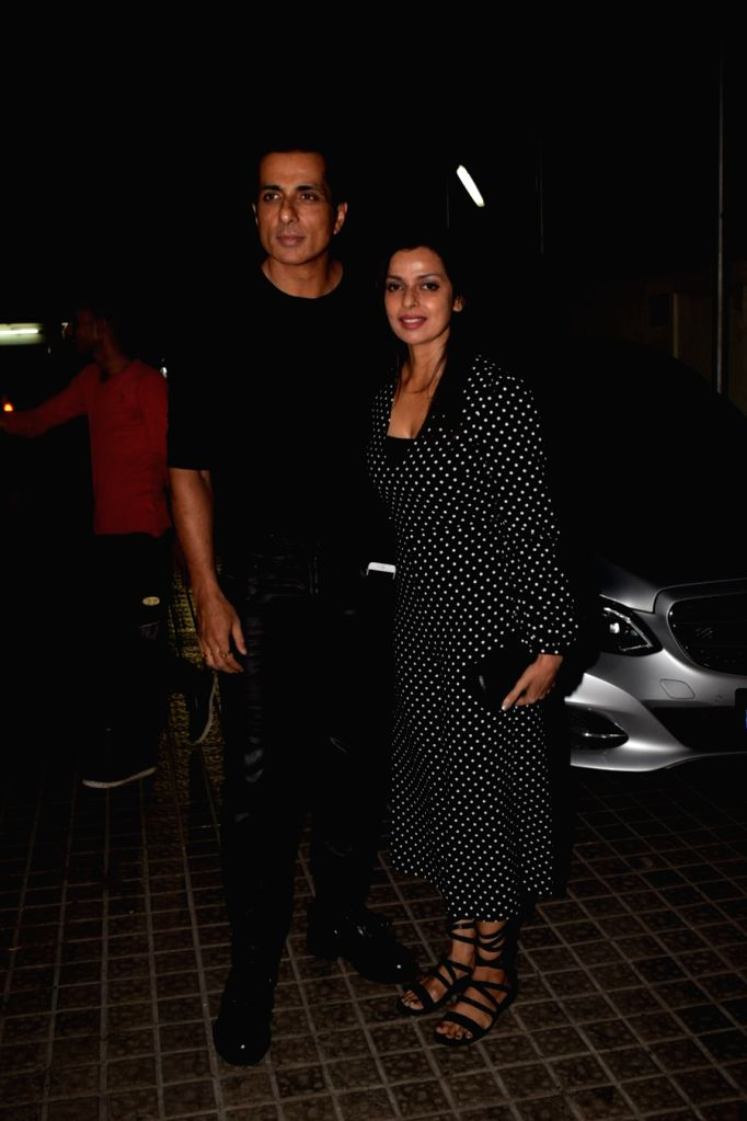 "Actor Sonu Sood along with his wife Sonali Sood at the special screening of film ""Padmaavat"" in Mumbai on Jan 24, 2018. - Sonu Sood"
