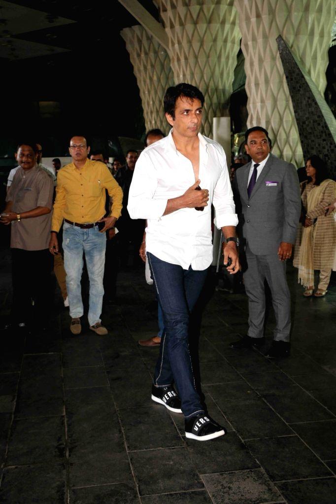 Actor Sonu Sood arrives at a prayer meet organised for late producer Raj Kumar Barjatya in Mumbai, on Feb 23, 2019. - Sonu Sood and Kumar Barjatya