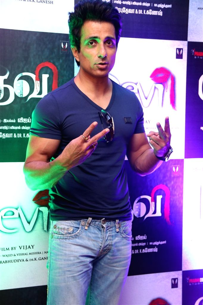 "Actor Sonu Sood durring the audio launch of Tamil film ""Devi (L)"" in Chennai on Sept 28, 2016. - Sonu Sood"