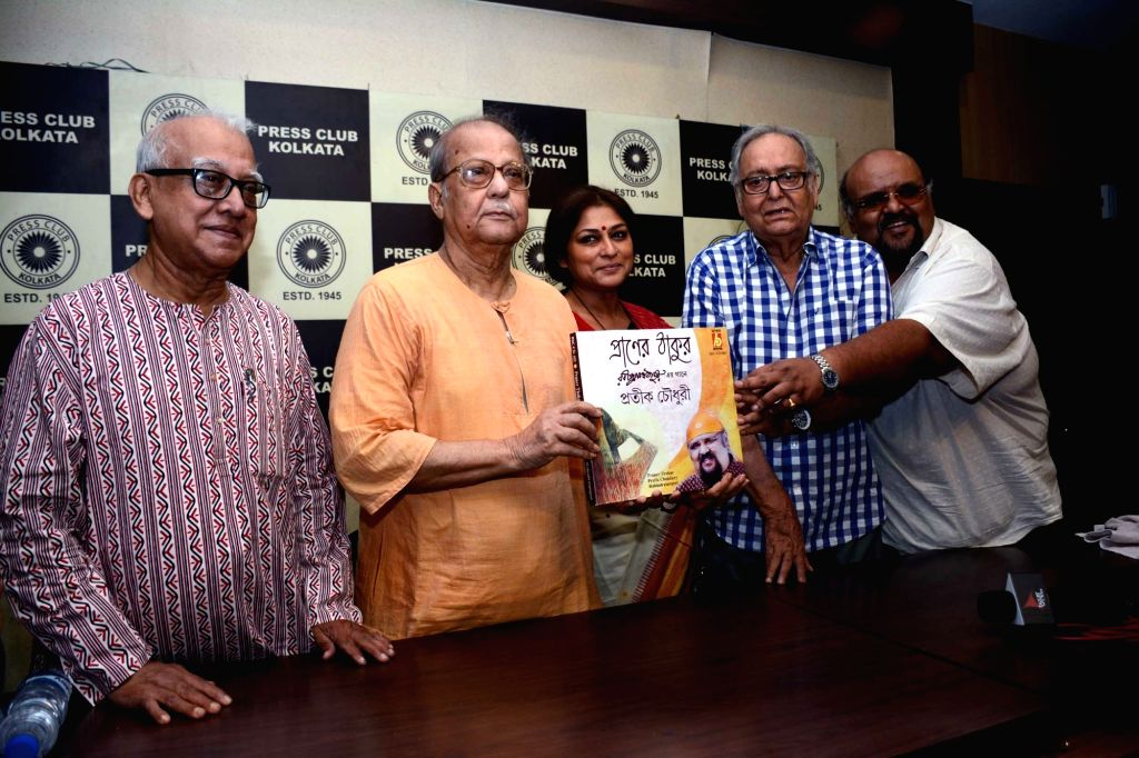 Actor Soumitra Chatterjee, singer Prateek Chowdhury, actress turned politician Roopa Ganguly and others during the launch of a CD in Kolkata on June 24, 2016. - Soumitra Chatterjee
