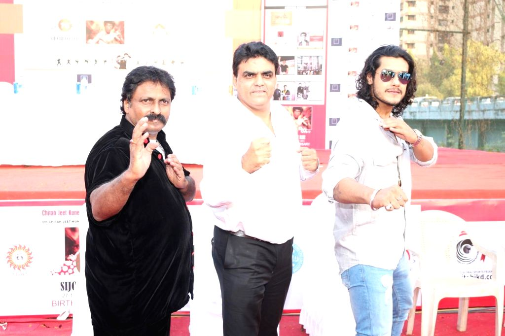 Actor Sourav Chakraborty and action director Cheetah Yagnesh Shetty during Bruce Lee's 76th birth anniversary in Mumbai on Nov 25, 2016. - Sourav Chakraborty and Yagnesh Shetty