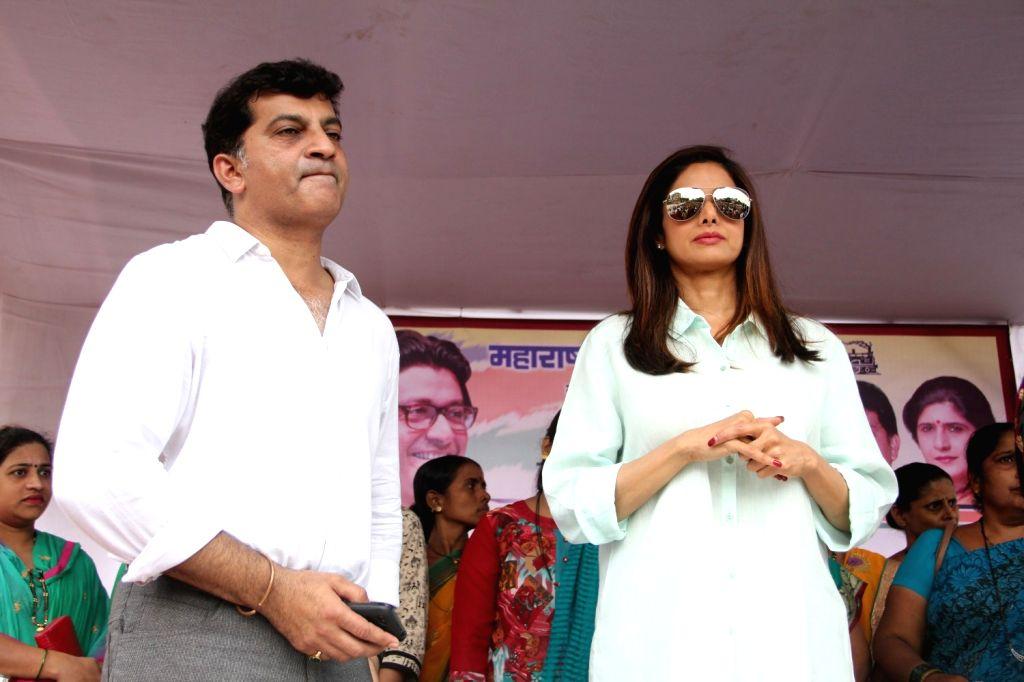 Actor Sridevi during the opening ceremony of Maharashtra Navnirman Sena (MNS) Sulabh Public Toilet in Mumbai on Aug 8, 2015.