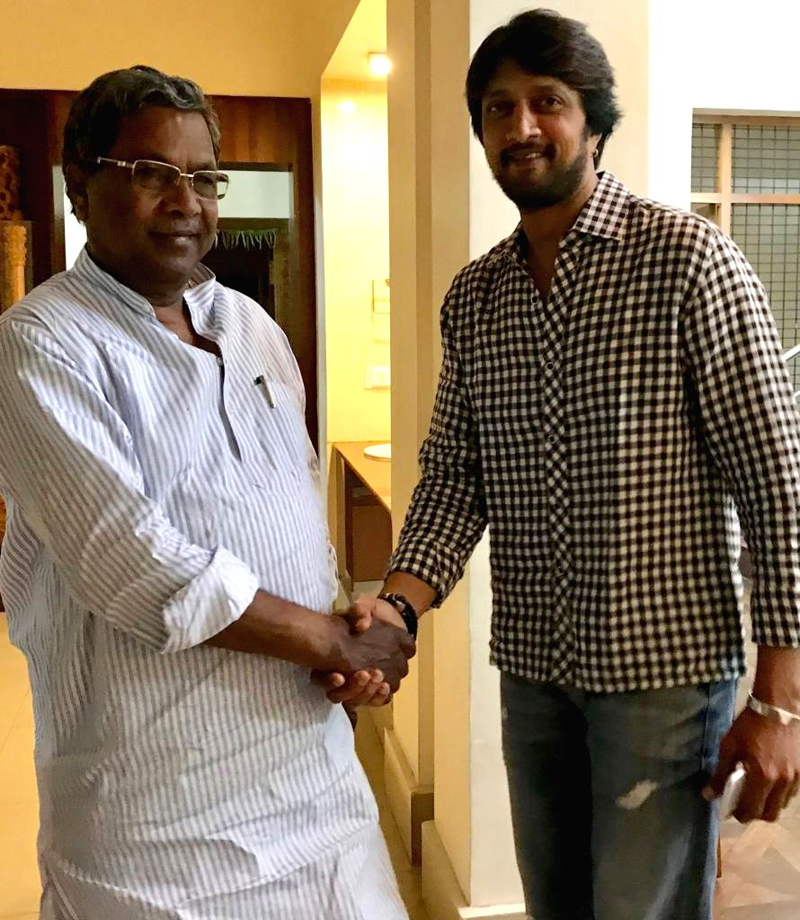Actor Sudeep Sanjeev calls on Karnataka Chief Minister Siddaramaiah in Bengaluru on April 5, 2018. - Sudeep Sanjeev