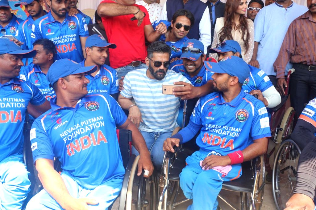 Actor Suniel Shetty at the semi-final of the Wheelchair Cricket Series between India and Bangladesh in Mumbai on April 3, 2018. - Suniel Shetty