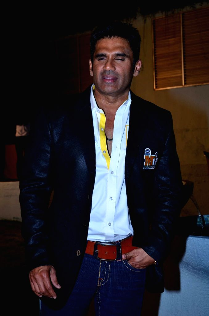 Actor Sunil Shetty during the media interaction for the upcoming Celebrity Cricket League 4 in Mumbai on December 20, 2013. - Sunil Shetty