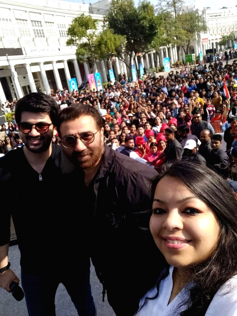 Actor Sunny Deol and his son Karan Deol at the flagging of ceremony of an all Women's Bike rally in New Delhi, on March 10, 2019. - Sunny Deol