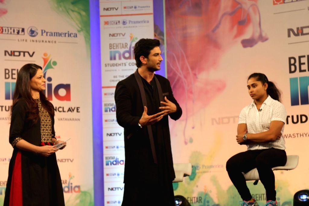 Actor Sushant Singh Rajput and Indian Gymnast Dipa Karmakar at the Behtar India Students' Conclave in New Delhi on Aug 4, 2017. - Sushant Singh Rajput