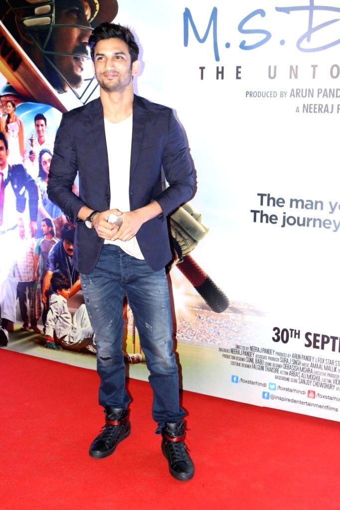 Actor Sushant Singh Rajput during the screening of film M S Dhoni, in Mumbai, on Sept 29, 2016. - Sushant Singh Rajput