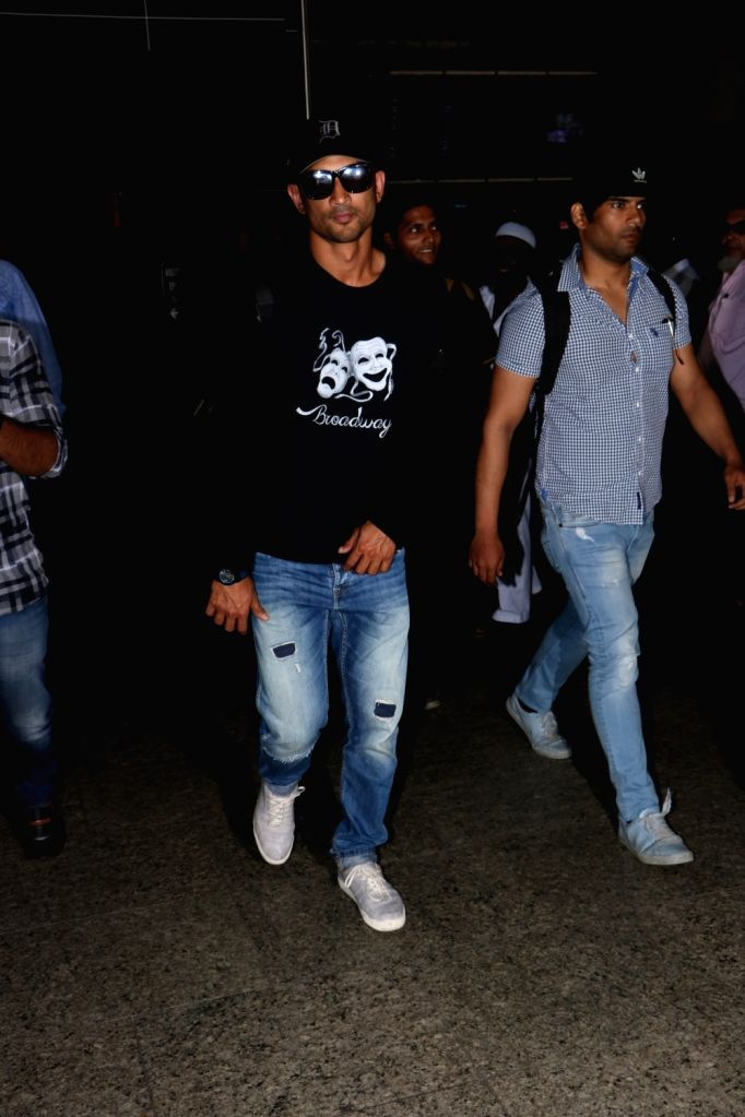 Actor Sushant Singh Rajput seen at Chhatrapati Shivaji Maharaj International airport in Mumbai on Oct 5, 2017. - Sushant Singh Rajput