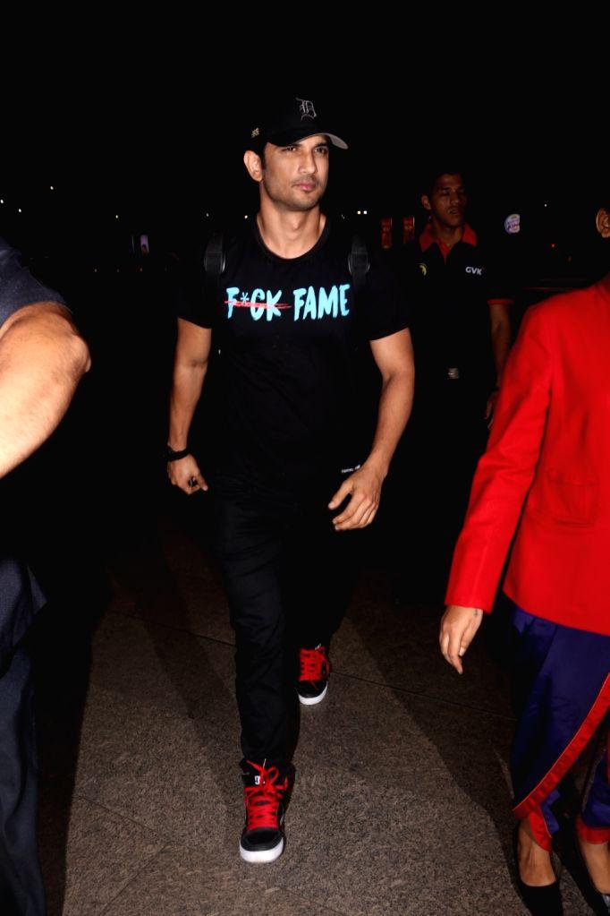 Actor Sushant Singh Rajput spotted at Chhatrapati Shivaji Maharaj International airport in Mumbai on Aug 17, 2017. - Sushant Singh Rajput