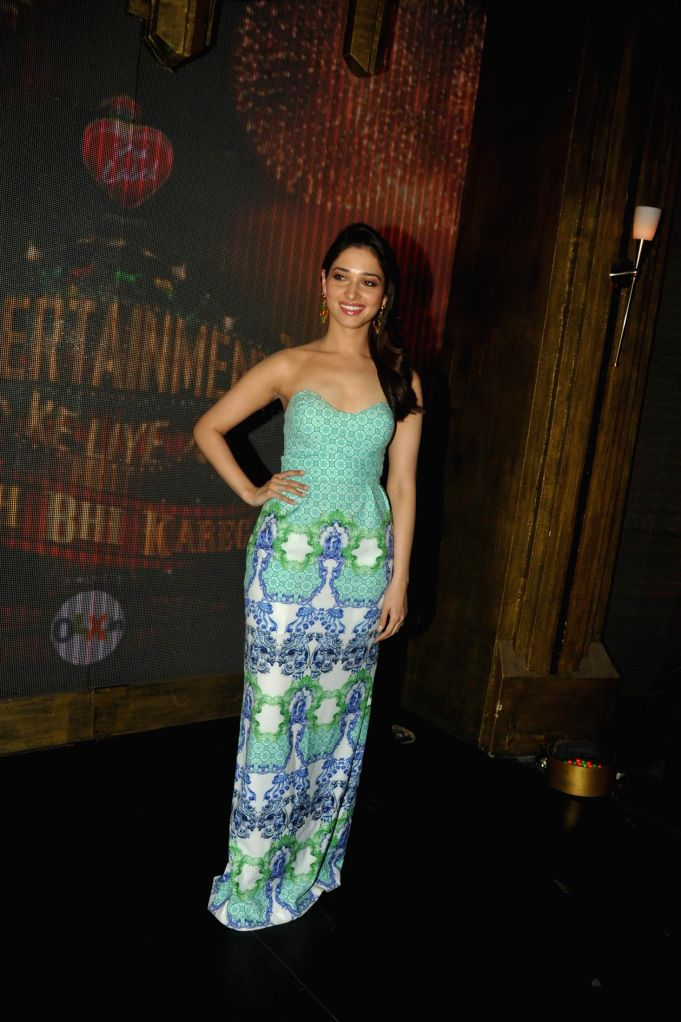 Actor Tamannaah Bhatia on the sets of Entertainment Ke Liye Kuch Bhi Karega (EKLKBK) to promote her upcoming film Entertainment in Mumbai on July 22, 2014. - Tamannaah Bhatia