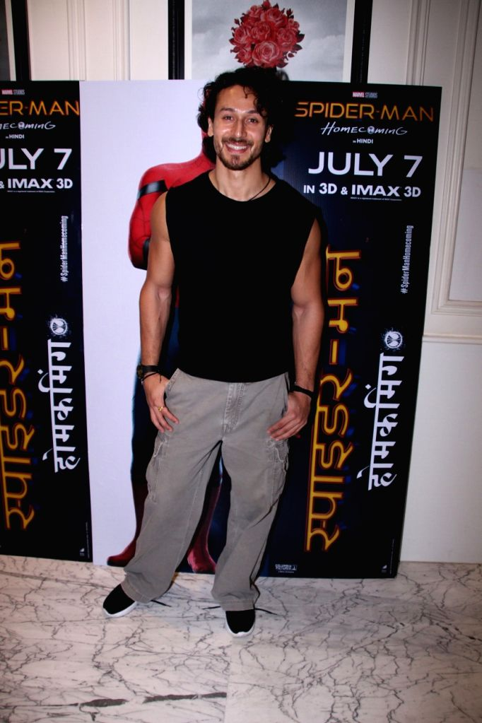 """Actor Tiger Shroff during a promotional programme of the film """"Spider-Man: Homecoming"""" in Mumbai, on July 7, 2017. - Tiger Shroff"""