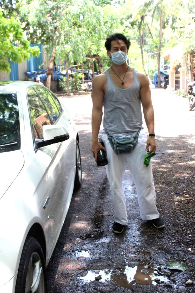 Actor Tiger Shroff seen at a dubbing studio in Mumbai's Juhu on June 29, 2020. - Tiger Shroff