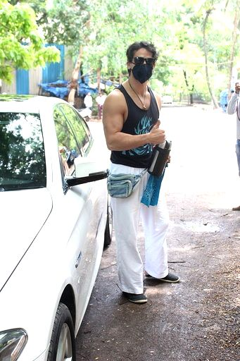 Actor Tiger Shroff seen at a dubbing studio in Mumbai's Juhu on July 1, 2020. - Tiger Shroff