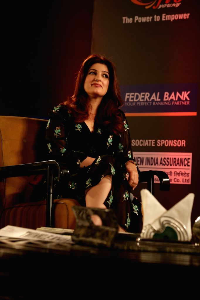 "Actor-turned-author Twinkle Khanna attends a FICCI YFLO session ""Pyjamas are Forgiving"" in New Delhi on Sept 19, 2018. - Khanna"