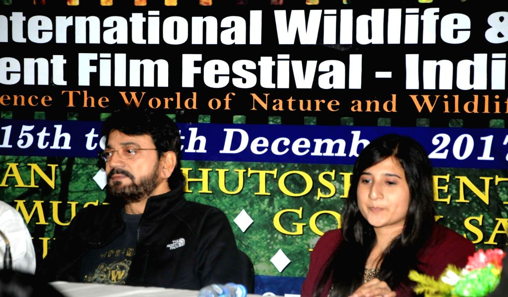 Actor turned politician Chiranjeet Chakraborty and filmmaker Ashwika Kapur during a press conference ahead of the 3rd edition of Kolkata International Wildlife Environment Film Festival in ... - Chiranjeet Chakraborty