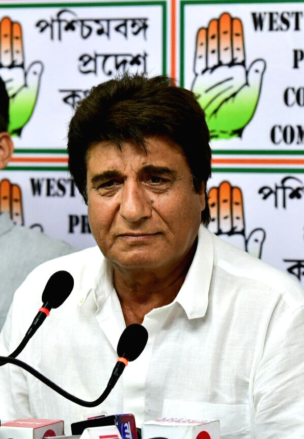 Actor-turned-politician Congress leader Raj Babbar addresses a press conference, in Kolkata, on April 26, 2019.