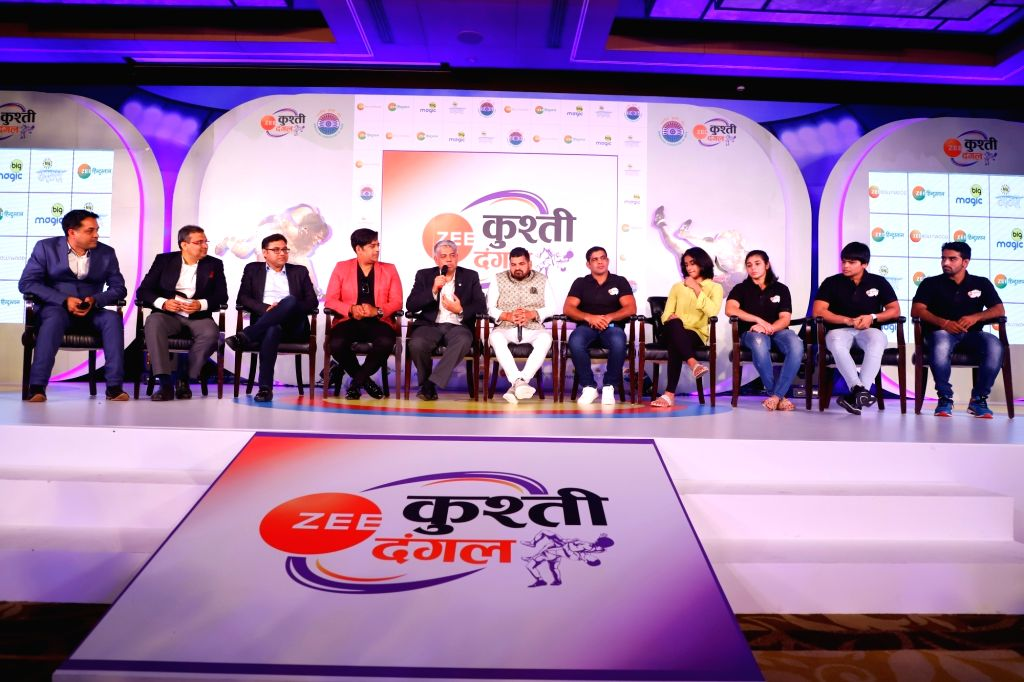 Actor-turned-politician Ravi Kishan and International Business & ZEEL ??? Head of Sports Business COO Mukund Cairae, wrestlers Divya Kakran, Sushil Kumar, Vinesh Phogat, Sarita Mor and ... - Sushil Kumar