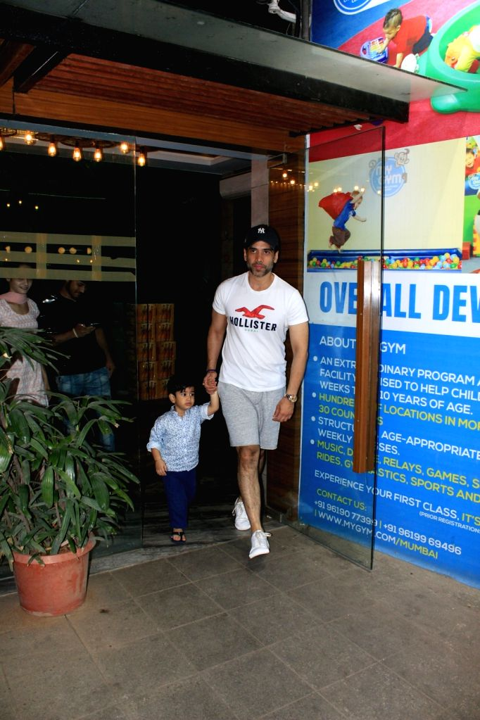 Actor Tusshar Kapoor along with his son Laksshya Kapoor seen at a gym in Mumbai on April 4, 2018. - Tusshar Kapoor and Laksshya Kapoor