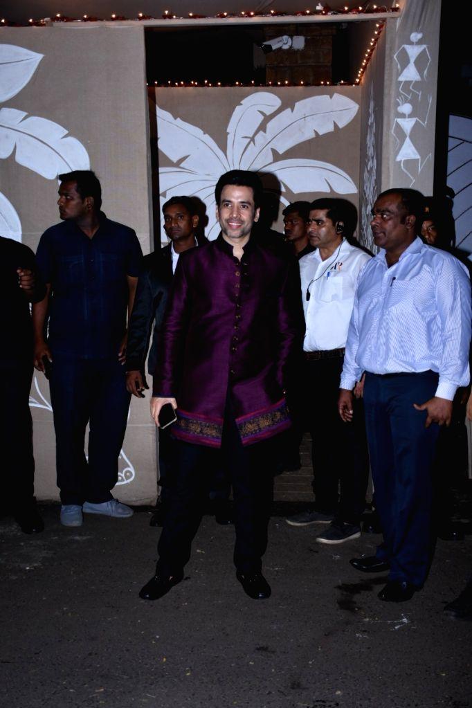 Actor Tusshar Kapoor at actor Amitabh Bachchan's Diwali party in Mumbai on Oct 27, 2019. - Tusshar Kapoor and Amitabh Bachchan
