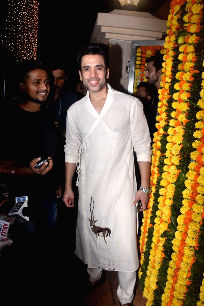 Actor Tusshar Kapoor at the Diwali bash party of producer Ekta Kapoor in Mumbai on Oct 26, 2019. - Tusshar Kapoor and Ekta Kapoor