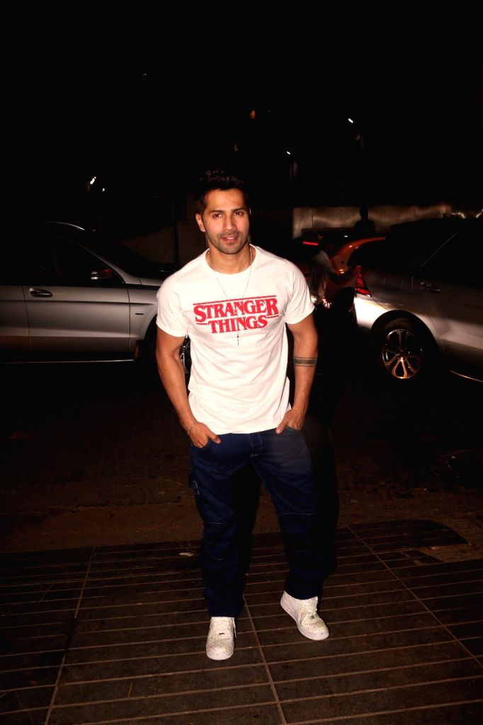 Actor Varun Dhawan at actress Nora Fatehi's birthday bash in Mumbai's Bandra, on Feb 5, 2019. - Varun Dhawan