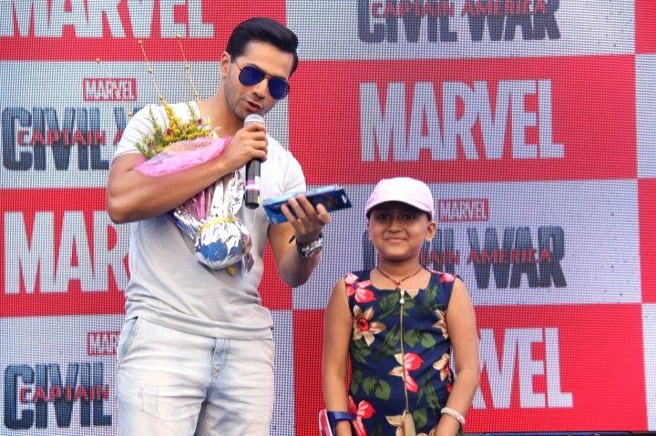 Actor Varun Dhawan during the launch of Captain America figurines in Mumbai on April 21, 2016. - Varun Dhawan