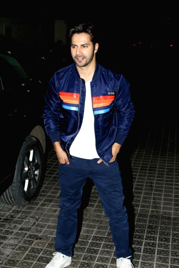 Actor Varun Dhawan during the screening of film Badrinath Ki Dulhania in Mumbai on March 9, 2017. - Varun Dhawan