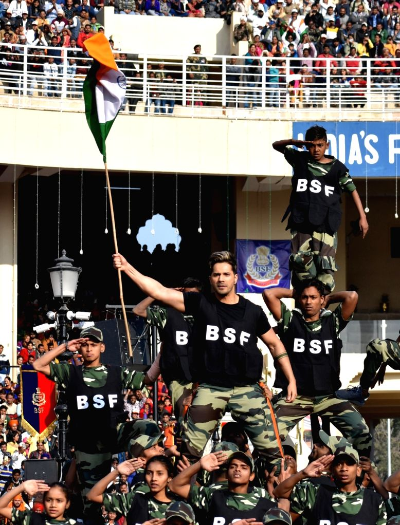 Actor Varun Dhawan performs during 2019 Republic Day celebrations at Attari-Wagha border in Punjab, on Jan 26, 2019. - Varun Dhawan