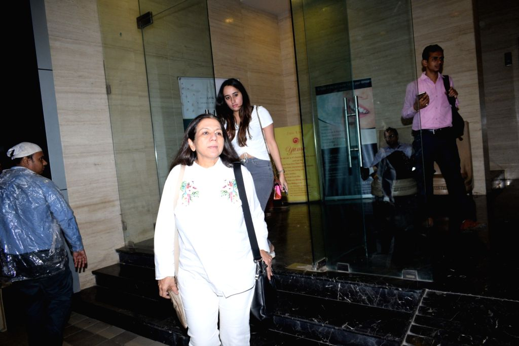 Actor Varun Dhawan's mother Karuna Dhawan and her girlfriend Natasha Dalal seen at the actor's office at Juhu, Mumbai on June 14, 2019. - Varun Dhawa