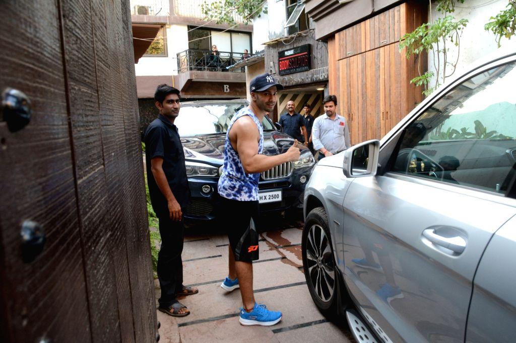 Actor Varun Dhawan seen outside a gym in Mumbai's Juhu, on May 9, 2019. - Varun Dhawan
