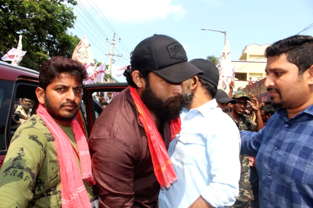 Actor Varun Tej during a election rally in Hyderabad on April 10, 2019. - Varun Tej