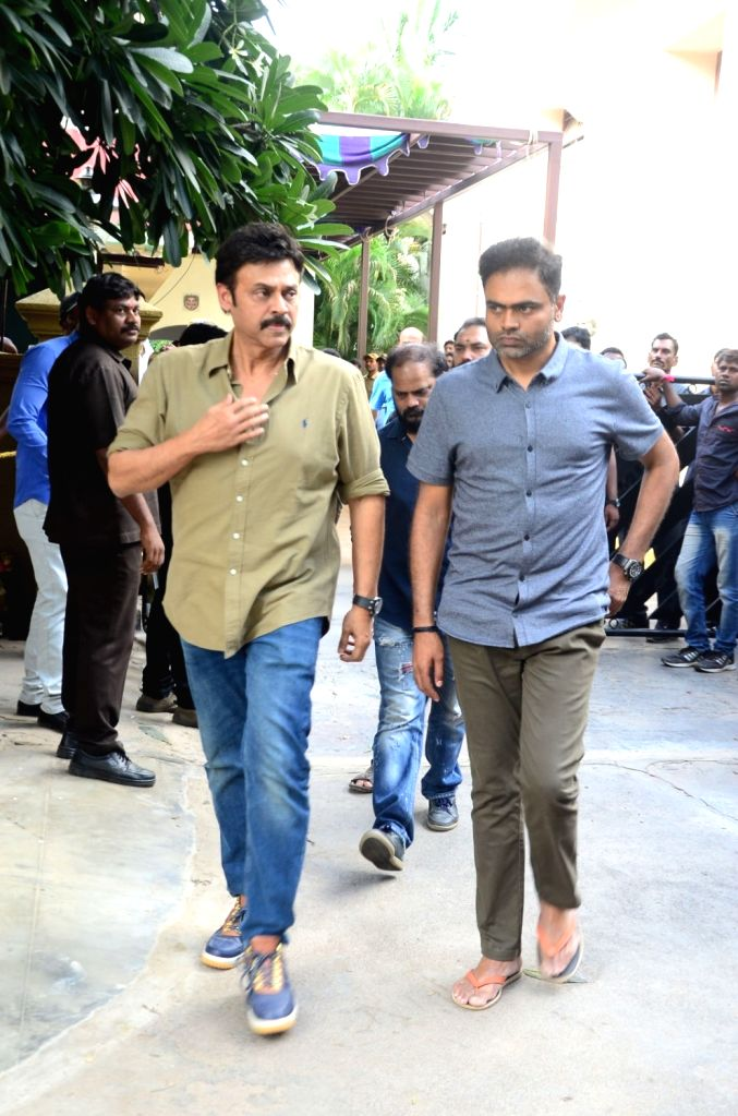Actor Venkatesh and director Vamshi Paidipally pay homage to actor-politician N. Harkrishna died in a road accident in Telangana's Nalgonda district, in Hyderabad on Aug 29, 2018. - Venkatesh