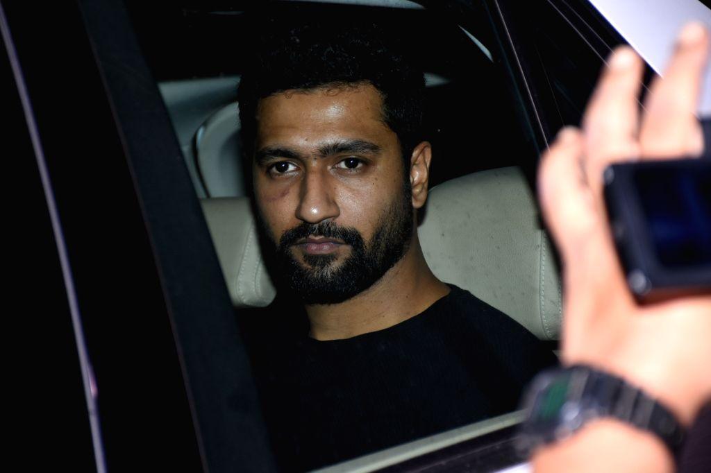 Actor Vicky Kaushal arrives at filmmaker Karan Johar's house party, in Mumbai on June 12, 2019. - Vicky Kaushal