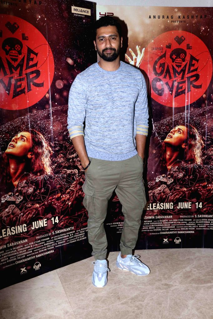 """Actor?Vicky Kaushal at the special screening of upcoming?Tamil-Telugu bilingual?film """"Game Over"""",?in Mumbai, on June 11, 2019. - Vicky Kaushal"""