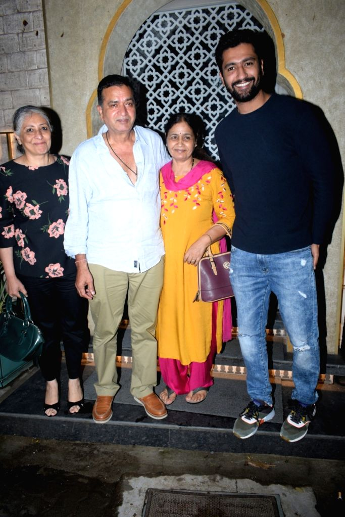 Actor Vicky Kaushal seen with his family members at a restaurant in Juhu, Mumbai on July 28, 2019. - Vicky Kaushal