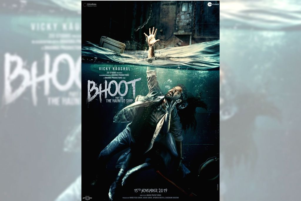 "Actor Vicky Kaushal, who is coming up with the horror drama ""Bhoot Part 1- The Haunted Ship"", has unveiled the film's official poster on Friday. In the poster, Vicky is seen being pulled into water by a woman ghost while he is struggling to get out. - Vicky Kaushal"